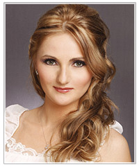 Half Up half down hairstyle for wedding guests